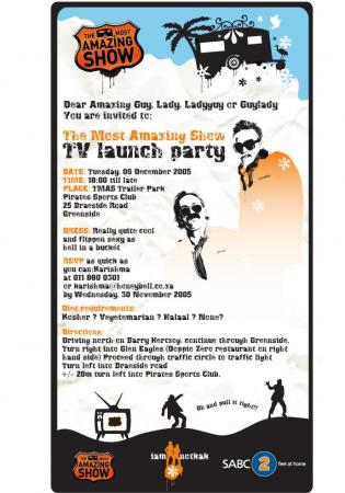 TMAS Invitation for the launch of the t.v show.
